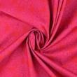 Pamutvászon pöttyös-virágos sűrű mintás  piros alapon rózsaszín