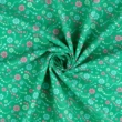 Pamutvászon gyöngysor virággal zöld-rózsaszín