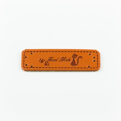 Hand made címke bőrutánzat 5×1,5 cm cica