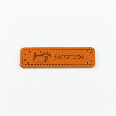 Hand made címke bőrutánzat 5×1,5 cm varrógép
