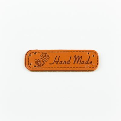 Hand made címke bőrutánzat 5×1,5 cm virág