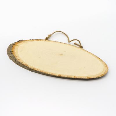 Fa szelet ovális, juta akasztóval 12×35-40 cm 1 cm vastag