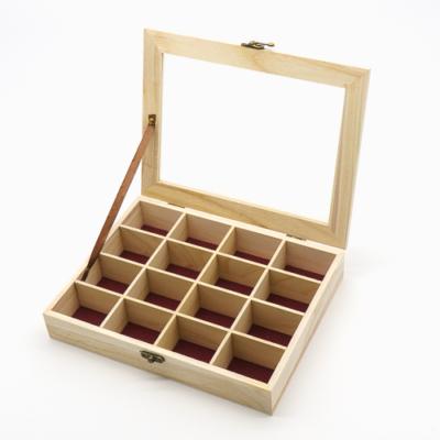 Rekeszes fa doboz átlátszó tetővel 21×27 cm