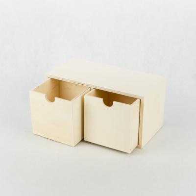 Fa két fiókos tároló nagy 20×10×10 cm