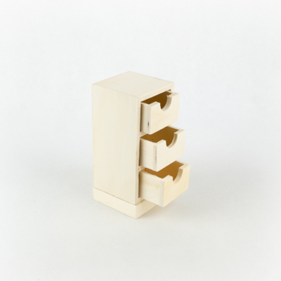 Fa három fiókos tároló kicsi 7,5×7,5×17 cm