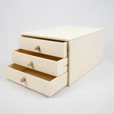 Fa doboz 3 fiókos  A4-es