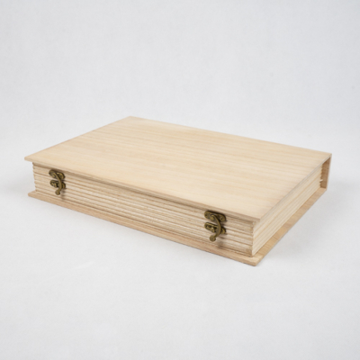 Fa doboz könyv formájú A4-es
