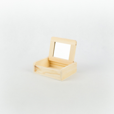 Fa tükrös doboz  12×10×4 cm