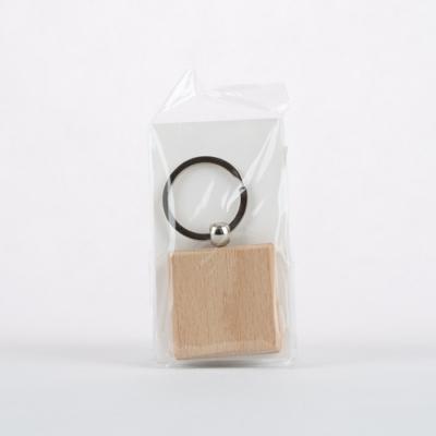Fa kulcstartó négyzet 4 cm bükk