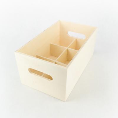 Fa rekeszes láda 6-os osztással 30×18×14 cm