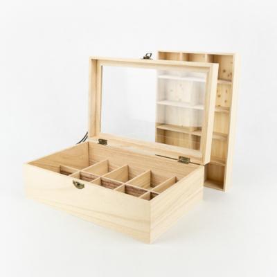 Fa tároló doboz duplaszintes, rekeszes 30×20×10 cm