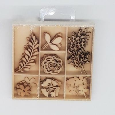 Lézervágott fa dísz 7 × 5 db ősz növények