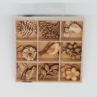 Lézervágott fa dísz 9 × 5 db ősz madarak növények
