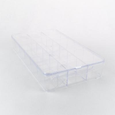 Műanyag rekeszes doboz tetővel 28,5×16,5×4,5 cm lekerekített
