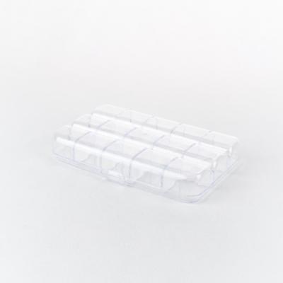 Műanyag rekeszes doboz tetővel 15×9,5×2,5 cm lekerekített