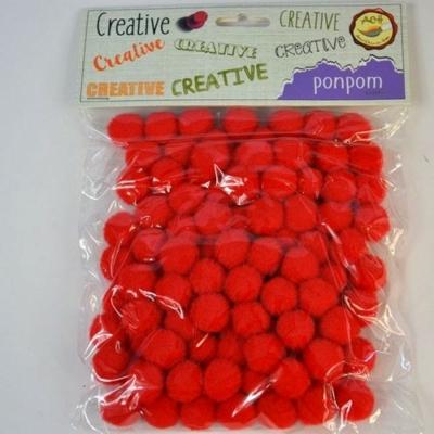 Pompom piros 15 mm 100 db