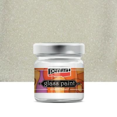Pentart üvegfesték oldószeres metál fehér 30 ml