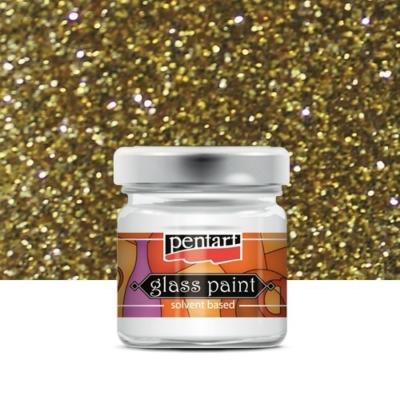 Pentart üvegfesték oldószeres csillámos arany 30 ml