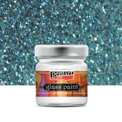 Pentart üvegfesték oldószeres csillámos kék 30 ml