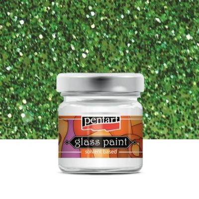 Pentart üvegfesték oldószeres csillámos zöld 30 ml