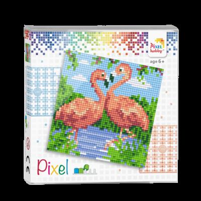 Pixel szett 4 alaplapos két flamingó 12x12 cm (4 alaplap+20 szín)
