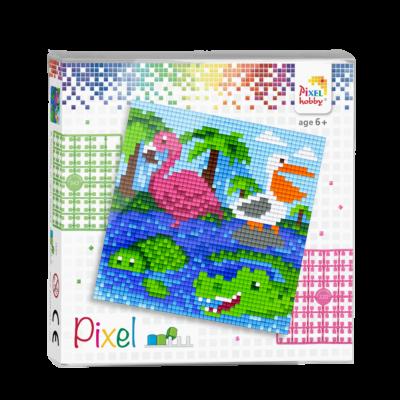 Pixel szett 4 alaplapos vízi állatok 12x12 cm (4 alaplap+20 szín)