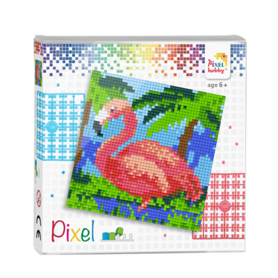 Pixel szett 4 alaplapos flamingó 12x12 cm (4 alaplap+20 szín)