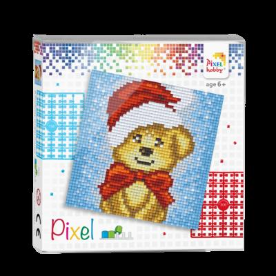 Pixel szett 4 alaplapos mikulás maci 12x12 cm (4 alaplap+20 szín)