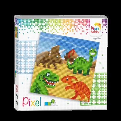 Pixel szett 4 alaplapos dínók 12x12 cm (4 alaplap+20 szín)