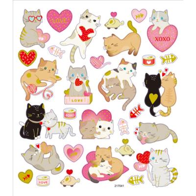 Matrica szerelmes cicák 15x17 arany