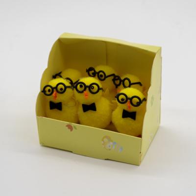 Szemüveges zsenília csibék 6 db m: 4 cm
