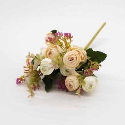 Tavaszi selyemvirág csokor 15 cm fehér-barack