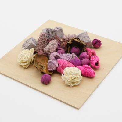 Szárazvirág dekoráció natúr-lila-ciklámen