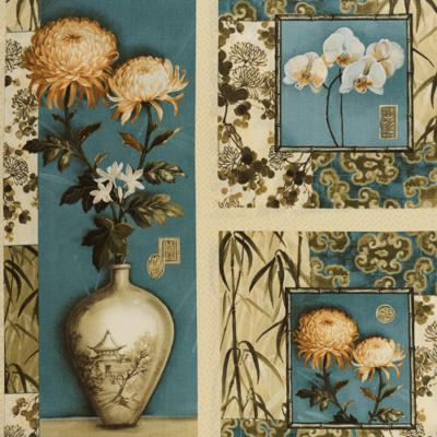 Pamutvászon antik virág blokk türkiz-drapp 110 cm