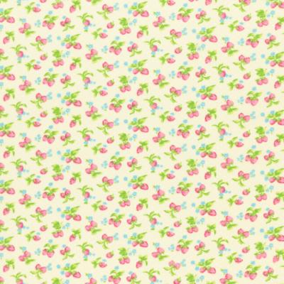 Pamutvászon apró rózsaszín eper krém alapon