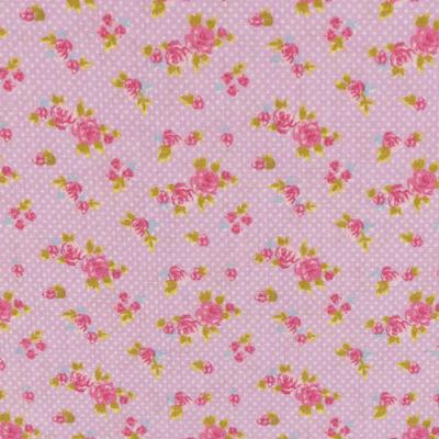 Pamutvászon apró virágos tűpöttyös lila alapon