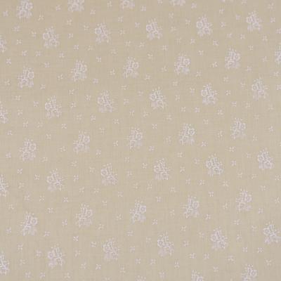 Pamutvászon apróvirágos drapp alapon fehér