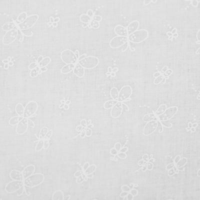 Pamutvászon fehér alapon fehér pillangó