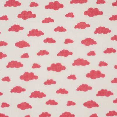 Pamutvászon fehér alapon rózsaszín felhős