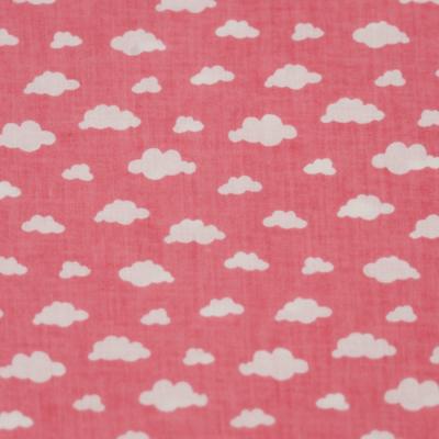 Pamutvászon rózsaszín alapon fehér felhős