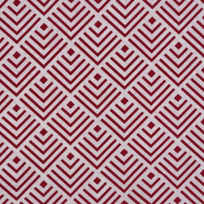 Pamutvászon fehér alapon piros geometrikus négyzetminta