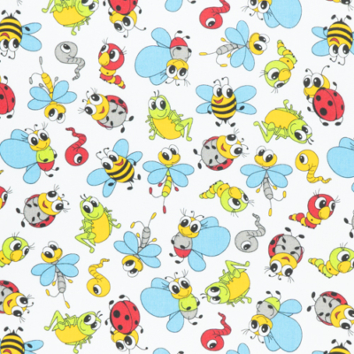 Pamutvászon méhecskés gyerekmintás