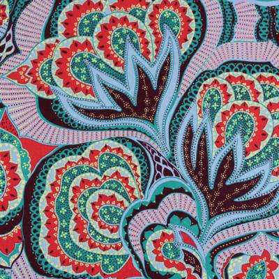 Pamutvászon nagy virágos keleti motívumok kék lila zöld árnyalatokban