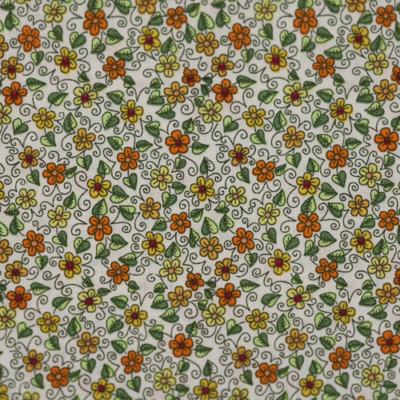 Pamutvászon okker apróvirágos leveles minta fehér alapon