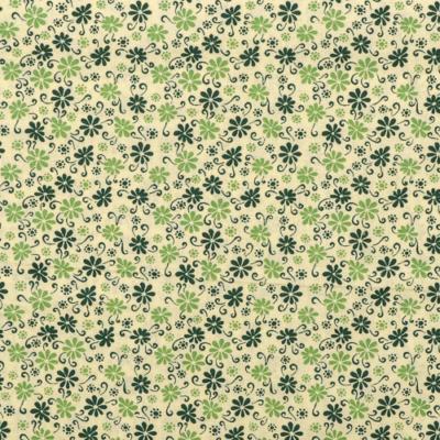 Pamutvászon indák és virágok zöld-sötétzöld
