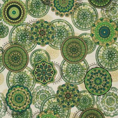 Pamutvászon zöld egymásba érő mandalák