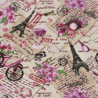 Pamutvászon párizs levelezőlapokkal lilás árnyalatban
