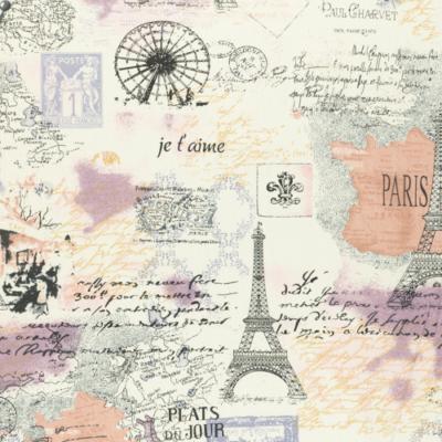 Pamutvászon párizs vintage stílusban lila bézs árnyalatban
