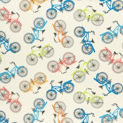 Pamutvászon tarka biciklik fehér alapon