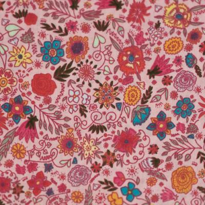 Pamutvászon tarkabarka virágok rózsaszín alapon